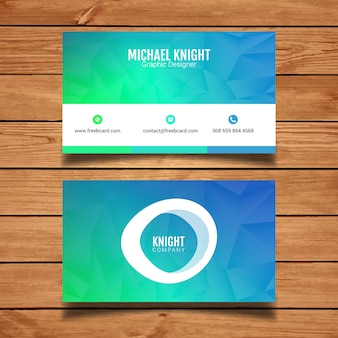 Blue and green polygonal business card