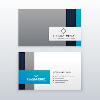 Blue and grey business card template