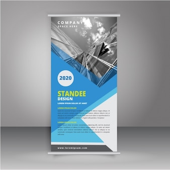 Blue and grey roll up design