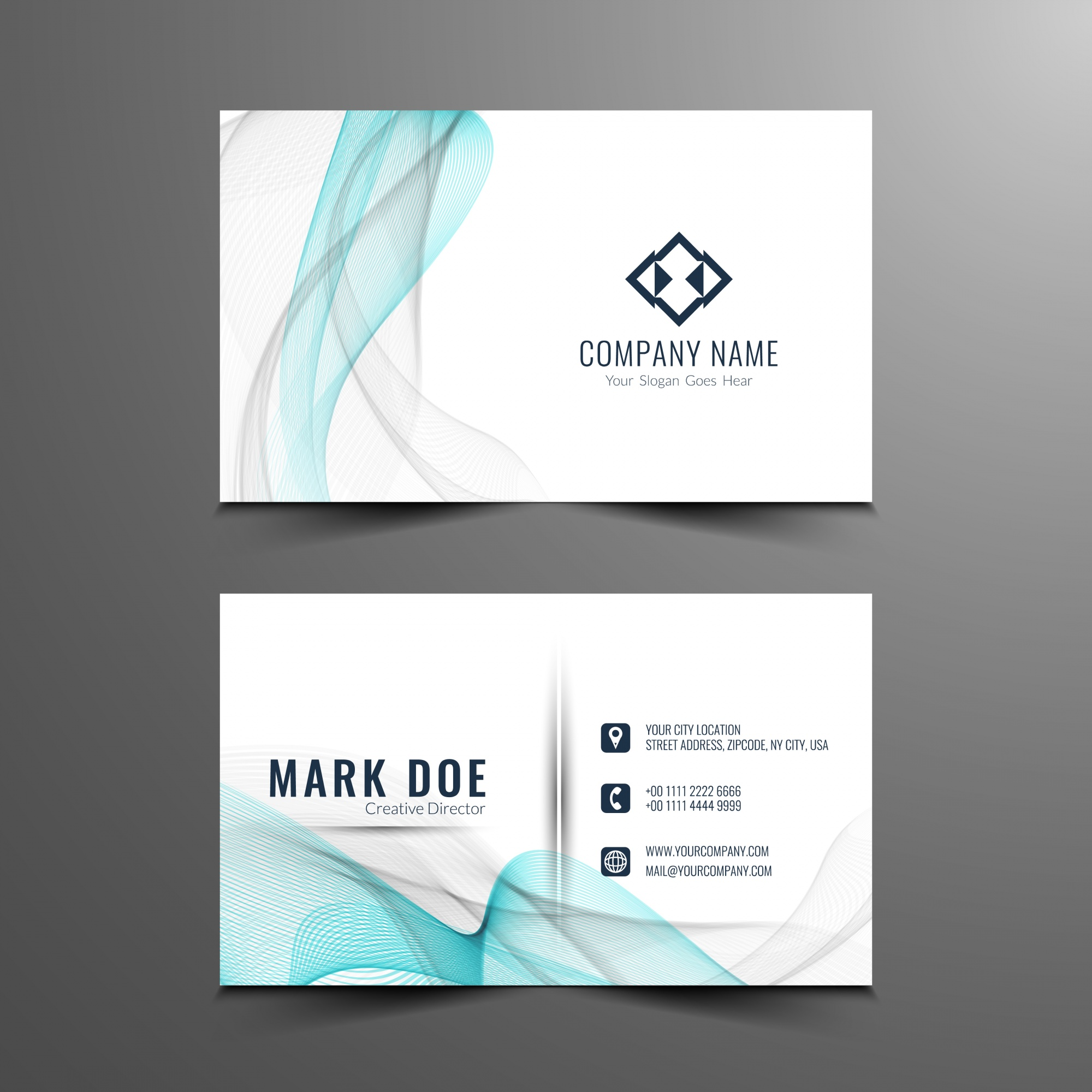 Blue and grey wavy business card template
