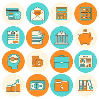 Blue and orange financial items