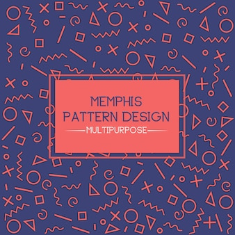 Blue and Orange Memphis Pattern