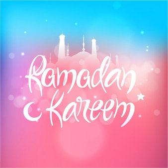 Blue and pink background with bokeh effect for ramadan kareem