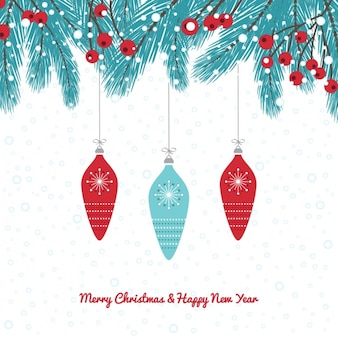 Blue and red christmas baubles background