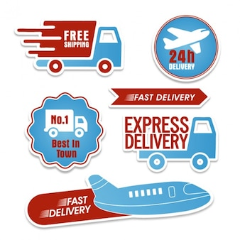 Blue and red delivery stickers