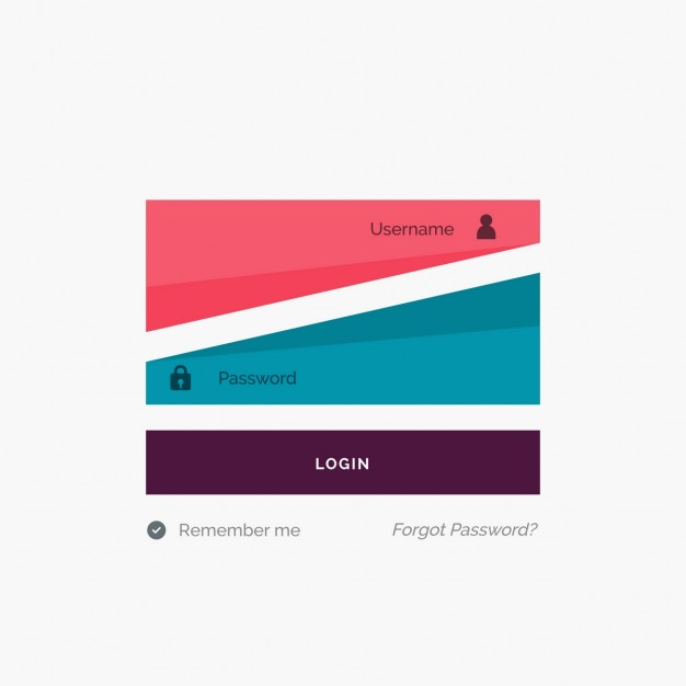 Blue and red geometric login template