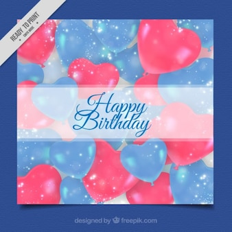 Blue and red heart ballons birthday card