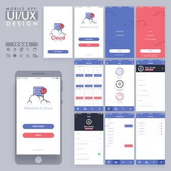 Blue and red mobile app design
