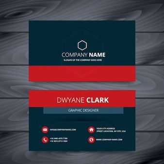 Blue and red modern business card