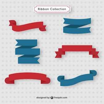 Blue and red ribbon collection