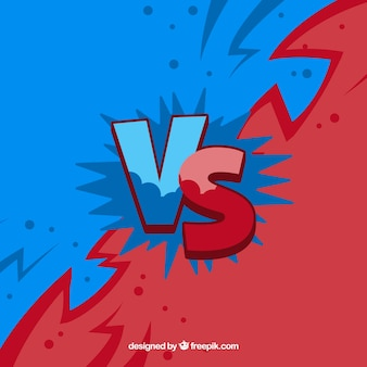Blue and red versus background