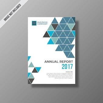青と白の年次報告書のデザイン