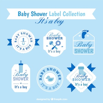 Blue and white baby shower stickers