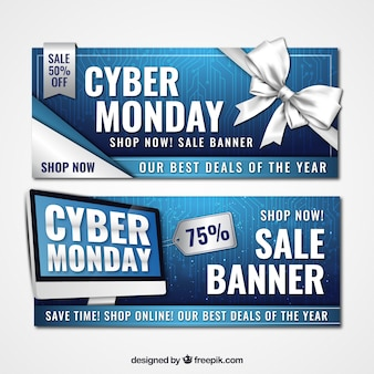 Blue and white banners for cyber monday