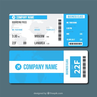 Blue and white boarding pass in flat design