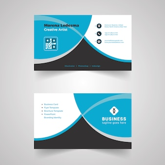 Blue and white business card with black details