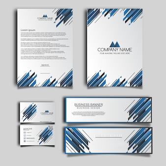 Blue and white business stationery