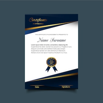 Blue and white certificate of appreciation template