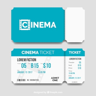Blue and white cinema tickets