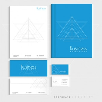 Blue and white corporate stationery