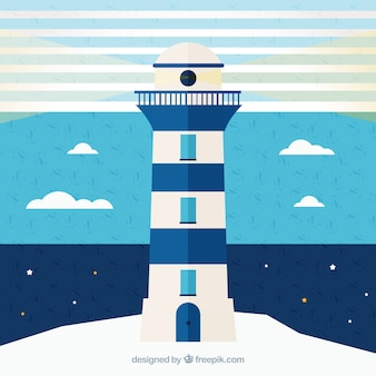 Blue and white nautical background with lighthouse