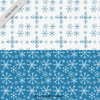 Blue and white patterns with snowflakes