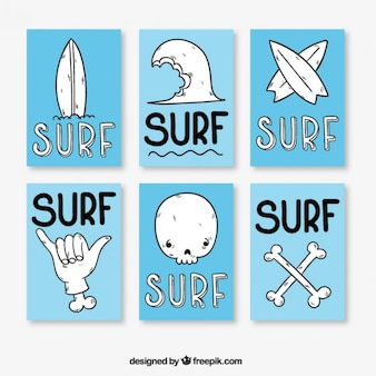 Blue and white surf posters