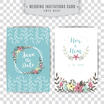 Blue and white wedding card with floral design
