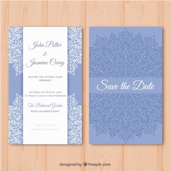 Blue and white wedding card with mandala design