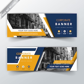 Blue and yellow back and front banner templates