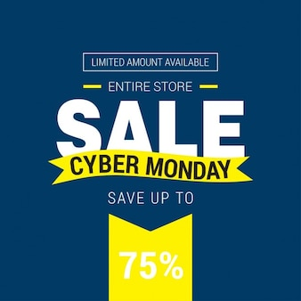 Blue and yellow background, cyber monday