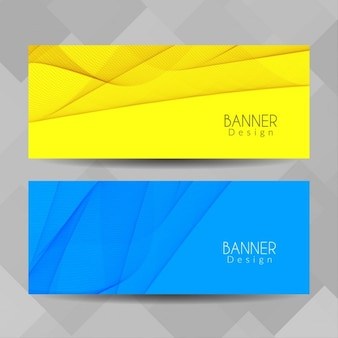 Blue and yellow banners with wavy shapes
