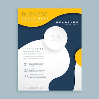Blue and yellow brochure with wavy shapes
