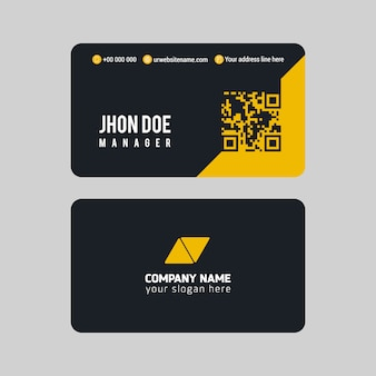 Blue and yellow business card