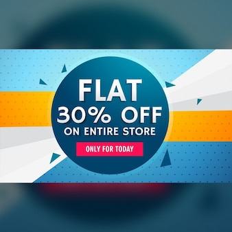 Blue and yellow discount voucher with geometric shapes