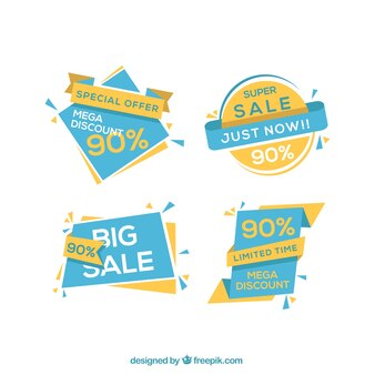 Blue and yellow geometric banners with discounts