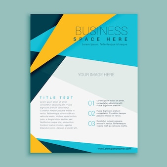 Blue and yellow geometric brochure flyer