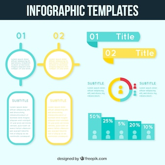 Blue and yellow infographic template
