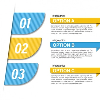 Blue and yellow infographic with three options