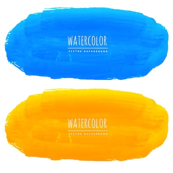 Blue and yellow watercolor stains