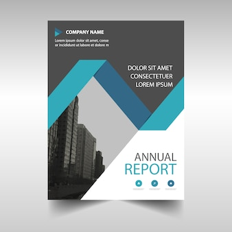 Blue annual report book cover template
