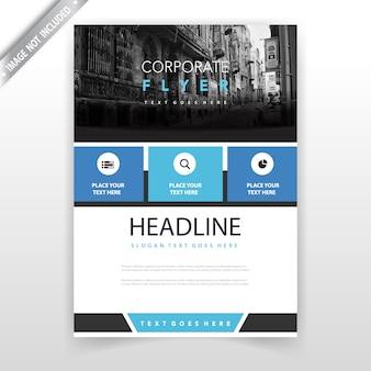 Blue annual report leaflet design