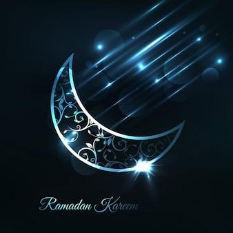 Blue arabic moon background