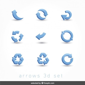 Blue arrows 3d set