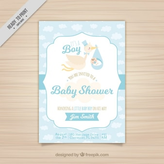 Blue baby shower card with a nice stork