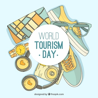 Blue background about world tourism day