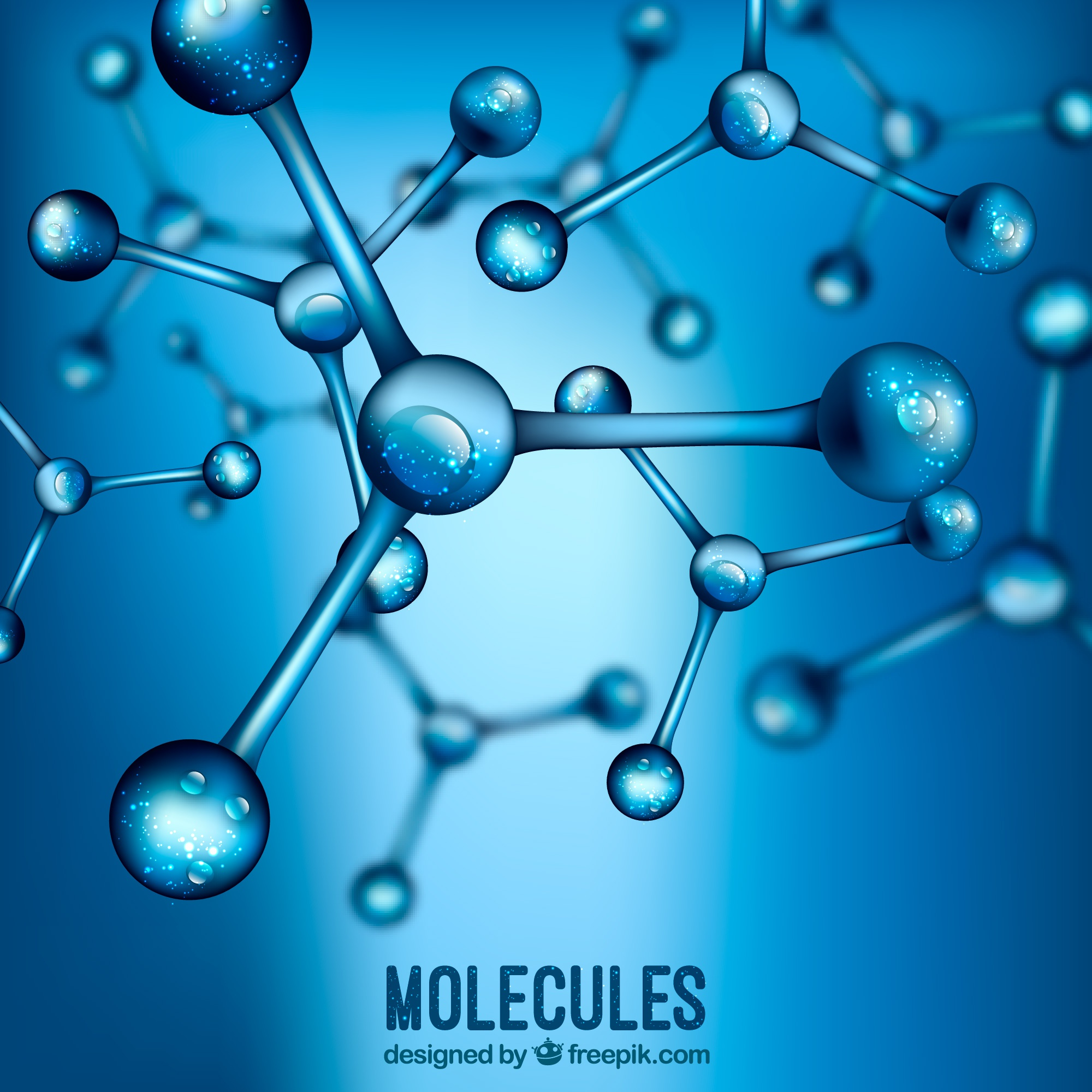 Blue background blurred realistic molecules