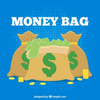 Blue background of bags with bills and coins