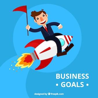 Blue background of businessman on a rocket