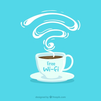 Blue background of coffee shop with free wifi